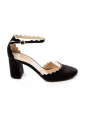 CHLOE LAUREN Black suede leather scallop-edged d'Orsay pumps Retail price $695 size 37.5
