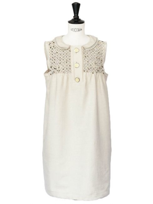 Beige silk and cotton cocktail babydoll dress with Swarovski crystals Retail price €2000 Size 38