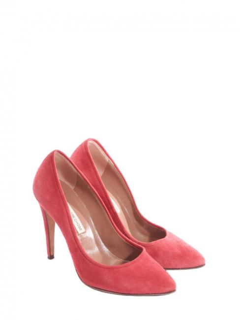 Escarpins en suède rose rouge doux Prix boutique 280€ Taille 37
