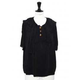 Black short sleeves silk blouse with enameled gold buttons Retail price €800 Size 38