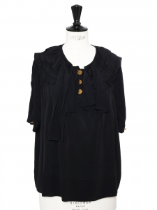 CHLOE Black short sleeves silk blouse with enameled gold buttons Retail price €800 Size 36/38