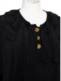 CHLOE Top manches courtes à volants en soie noire et boutons dorés Px boutique 800€ Taille 36/38