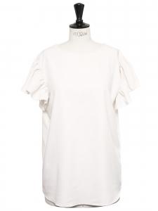 Top manches courtes col rond à volants blanc crème Taille 38