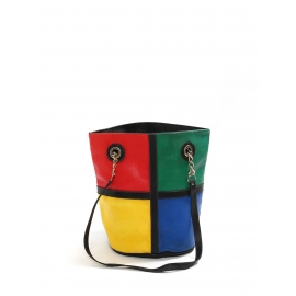 Quadricolor blue red yellow and green leather tote shoulder bag
