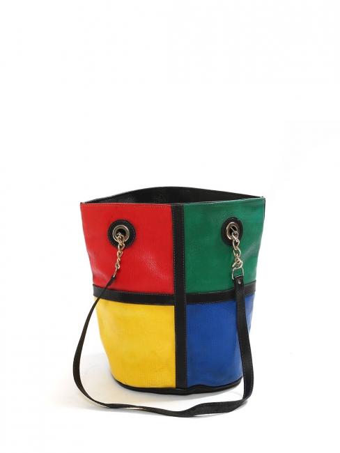 Sac à main cabas quadricolor couleurs primaires en cuir rouge jaune vert bleu