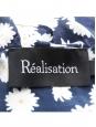 Robe THE VALENTINA daisy à volants en soie bleu marine fleurie Prix boutique $180 Taille XS