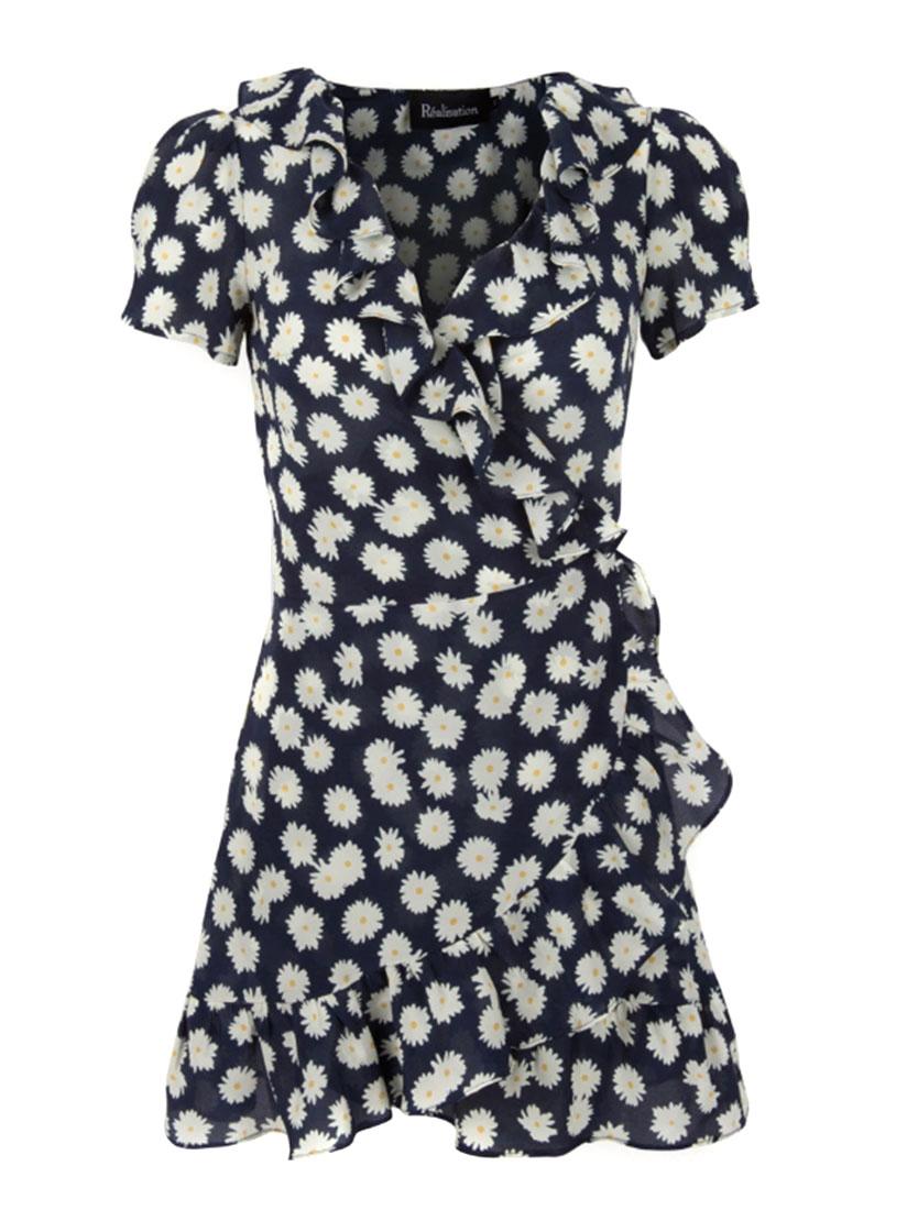 4291aa8a73b ... Robe THE VALENTINA daisy à volants en soie bleu marine fleurie Prix  boutique  180 Taille XS ...