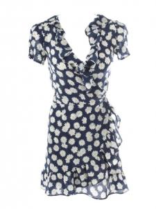 THE VALENTINA Daisy flower print navy blue silk dress with ruffles Retail price $180 Size XS