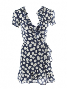 THE VALENTINA Daisy flower print navy blue silk dress with ruffles Retail price $180 Size XS