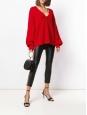 IRO PARIS Gros pull en maille épaisse de laine côtelée rouge vif col V Prix boutique 363€ Taille S