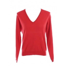 Bright red thin knit wool V neck sweater Retail price €350 Size 36
