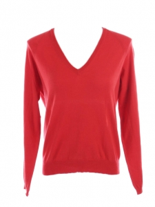 JIL SANDER Bright red thin knit wool V neck sweater Retail price €350 Size 36
