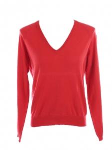JIL SANDER Pull col V en maille fine de laine rouge vif col V Prix boutique 350€ Taille 36