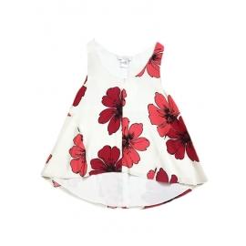 Top débardeur en soie blanche imprimé fleuri rouge Prix boutique 480€ Taille 36