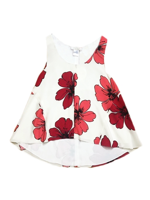 ICONIC white silk crepe tank top printed with red flowers Retail price €480 Size 36