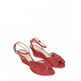 Sandales TERRY compensées à noeud en toile rouge cerise NEUVES Px boutique 500€ Taille 36