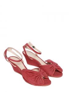 CHLOE Sandales Terry à noeud en toile de coton rouge cerise NEUVES Px boutique 500€ Taille 36