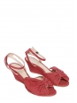 TERRY Light cherry red cotton canvas wedge sandals NEW Retail price €500 Size 36
