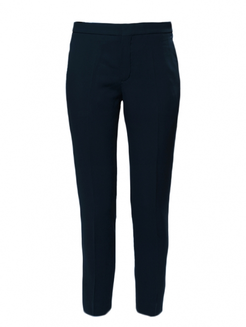 Navy blue crepe de chine slim fit tailored pants NEW Retail price €480 Size 34