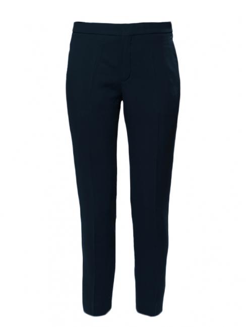 Pantalon tailleur en crêpe de chine bleu nuit NEUF Prix boutique 480€ Taille 34