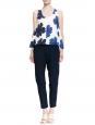 CHLOE Pantalon slim en crêpe de chine bleu saphir NEUF Prix boutique 480€ Taille 38