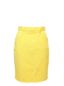 Jupe crayon taille haute jaune à pois blanc Taille 36