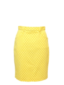 Yellow and white polka dot print denim high waist pencil skirt Size 36