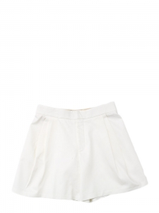 White cotton twill pleated shorts Retail price €550 Size 40