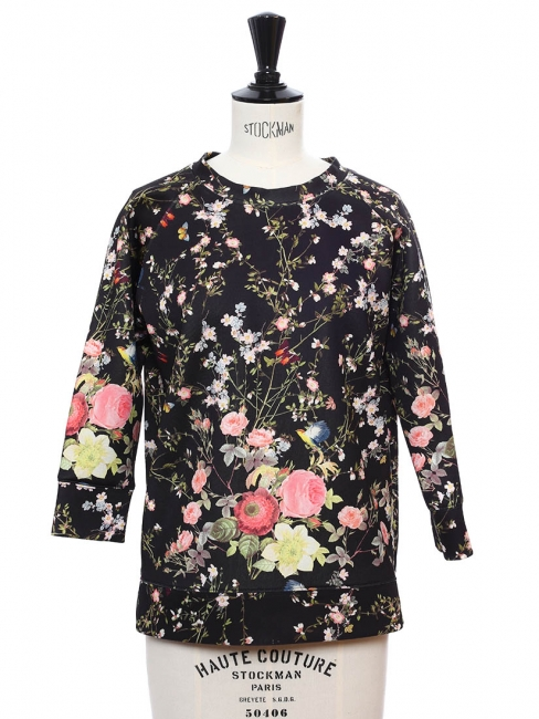 JAMES Multicolor spring blossom floral printed black sweater Retail price €280 Size 36