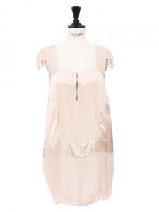 Robe en crêpe et satin de soie rose pâle Px boutique 350€ Taille 34