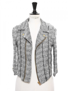 Black and white abstract printed cotton-blend DIA biker jacket Retail price €350 Size XS