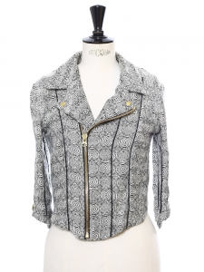Veste courte zippée DIA imprimé tissé noir et blanc Prix boutique 350€ Taille XS