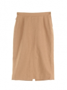 Tan brown wool high waist pencil skirt Retail price €1000 Size 36