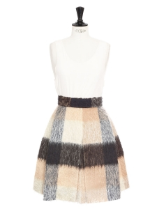 Check print mohair and virgin wool A-line skirt Retail price €1200 Size XS