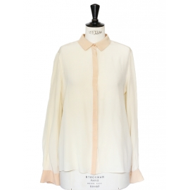 Ecru and beige pink long sleeves silk crepe shirt Retail price 800€ Size 38