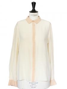 Chemise en crêpe de soie écru et beige rosé Px boutique 800€ Taille 38
