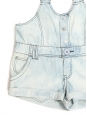 Light blue and white striped cotton overalls shorts Size S