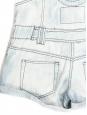 Salopette short en coton bleu ciel à fines rayures Taille 36