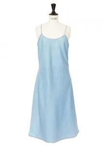 Robe longue fines bretelles en denim bleu clair Taille 38