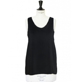 Black silk crepe de chine Iconic tank top Retail price €390 Size 40