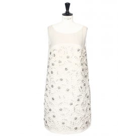 White/ecru pleated silk dress embroidered with Swarovski crystals Retail price €6000 Size 38