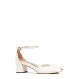LAUREN White leather scallop-edged d'Orsay pumps Retail price $695 Size 38