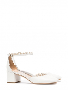 CHLOE LAUREN White leather scallop-edged d'Orsay pumps Retail price $695 Size 38