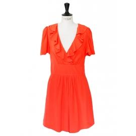 Vermilion red silk crepe short sleeves ruffled décolleté dress Retail price €1200 Size 36