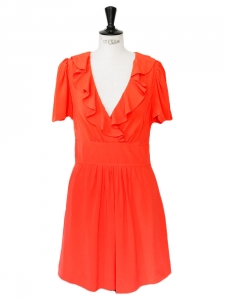 CHLOE Vermilion red silk crepe short sleeves ruffled décolleté dress Retail price €1200 Size 36