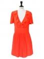 CHLOE Vermilion red silk crepe short sleeves ruffled décolleté dress Retail price €1200 Size 36