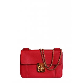Elsie Medium rubis red leather bag with gold shoulder chain Retail price 1100€
