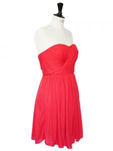 TIBI Robe bustier finement plissée rouge vif Px boutique 350€ Taille 36