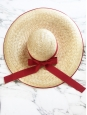 White grosgrain ribbon straw capeline hat Retail price €450 Size S
