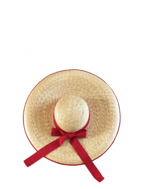 Cherry red grosgrain ribbon and straw capeline large sun hat